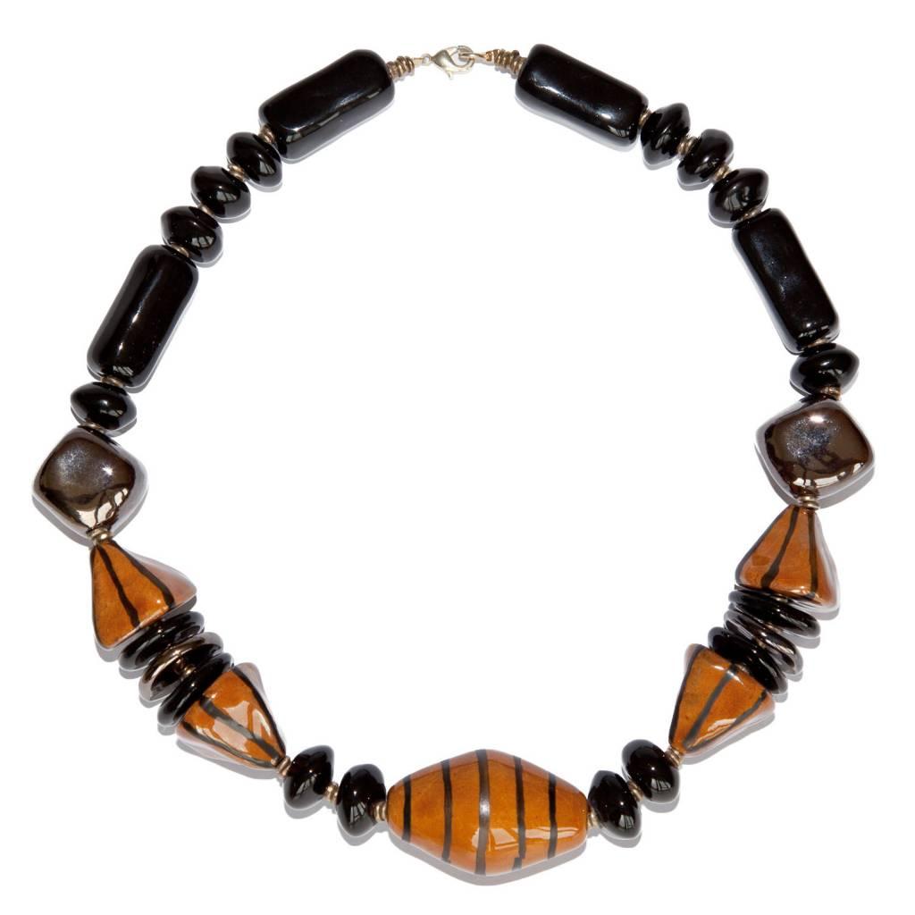 Kazuri Halsketten Opulente Kette Braun
