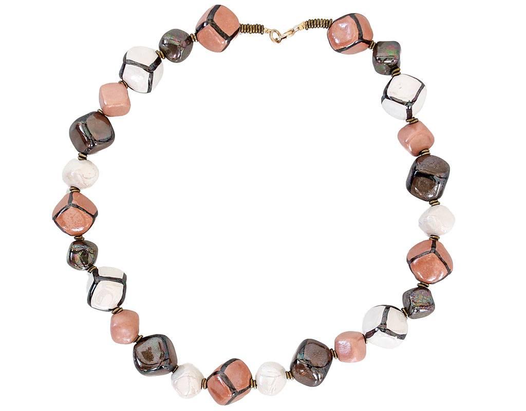 Kazuri Halsketten Schmuck Altrosa Braun