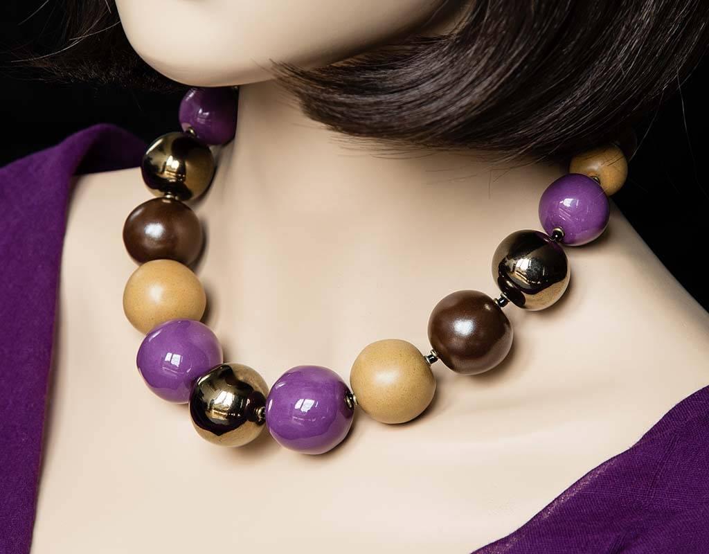 Kazuri Halsketten Halskette mit bunten Keramik Kugeln