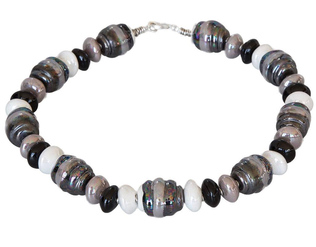 Kazuri Halsketten Stilvolle Halskette Granit Weiss