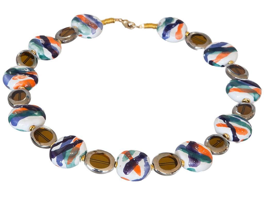 Kazuri Halsketten Kazuri Halskette Blau-Orange