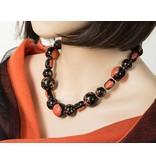 Kazuri Halsketten Keramik Halskette Schwarz Orange