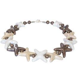 Kazuri Halsketten Stars White Toffe