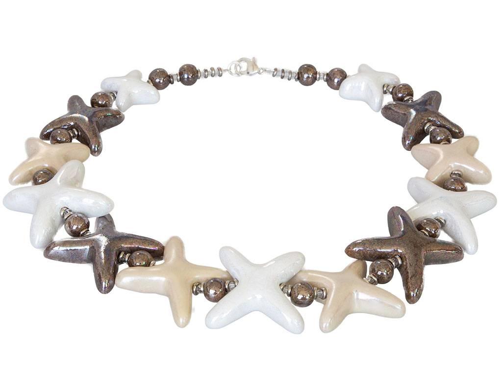 Kazuri Halsketten Extravagante Halskette mit Keramiksternen