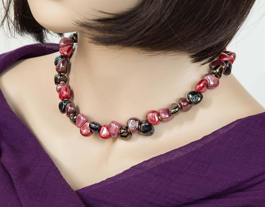 Kazuri Halsketten Zierliche Halskette Rot Schwarz