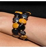 Kazuri Armbänder Keramik Armband Schwarz Gelb