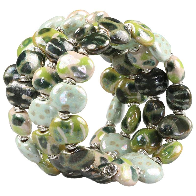 Kazuri Armbänder Wickelarmband Grün