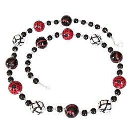 Kazuri Halsketten Doria Black White Bright Red