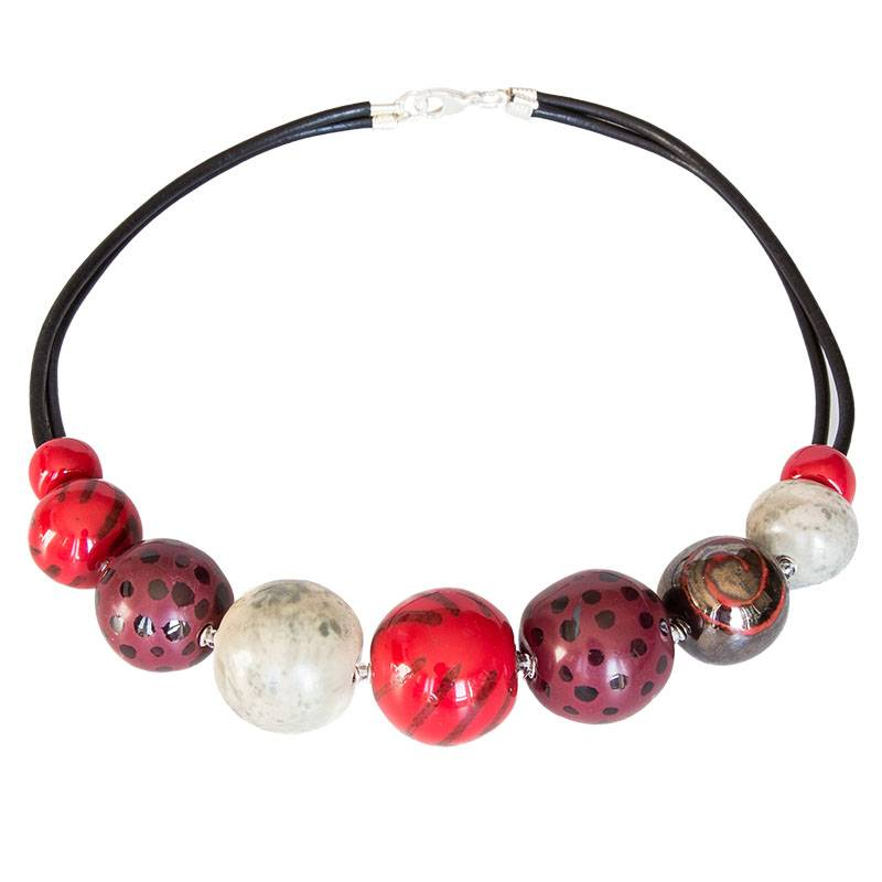 Kazuri Halsketten Rote Halskette handbemalt