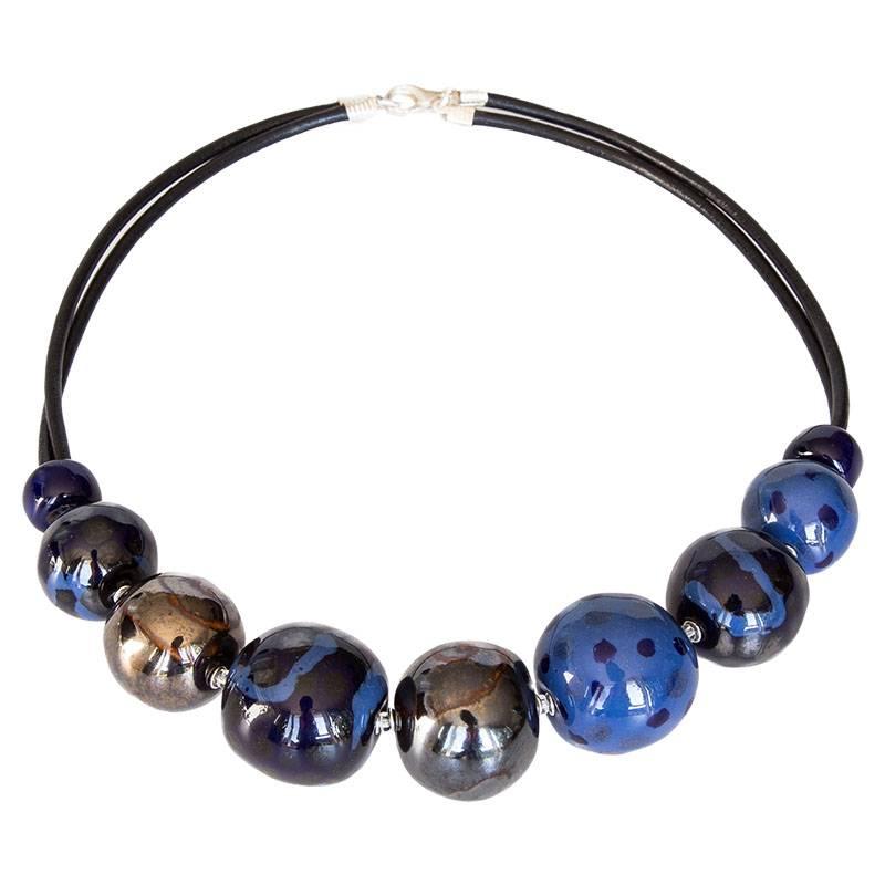 Kazuri Halsketten Halskette Blau Gold
