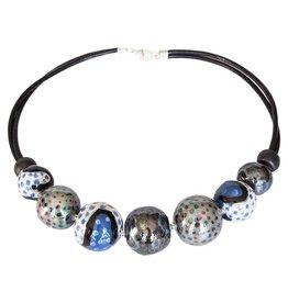 Kazuri Halsketten Frutti Bubbles Steel Blue