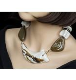 Kazuri Halsketten Statementkette Weiß-Braun