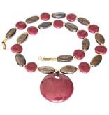 Kazuri Halsketten Schmuck aus Keramik Bordeauxrot