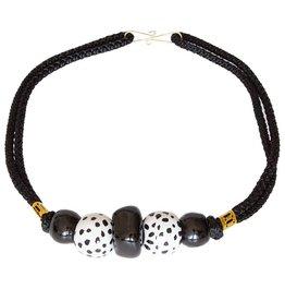 Kazuri Halsketten Ngong Black & White