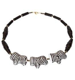Kazuri Halsketten Zebra Black & White