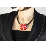 Kazuri Halsketten Runder Kettenanhänger Rot