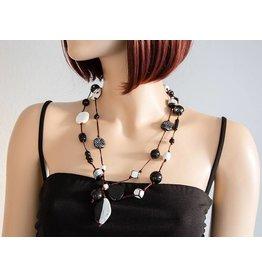 Kazuri Halsketten Long Strand Black & White