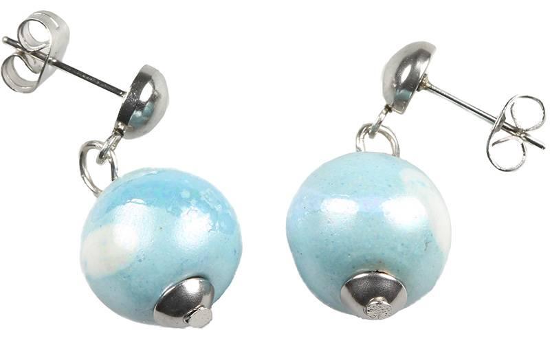 Kazuri Ohrringe Ohrhänger mit blauen Keramikkugeln