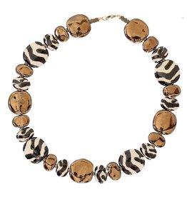 Kazuri Halsketten Pitapat Shale Gold Zebra