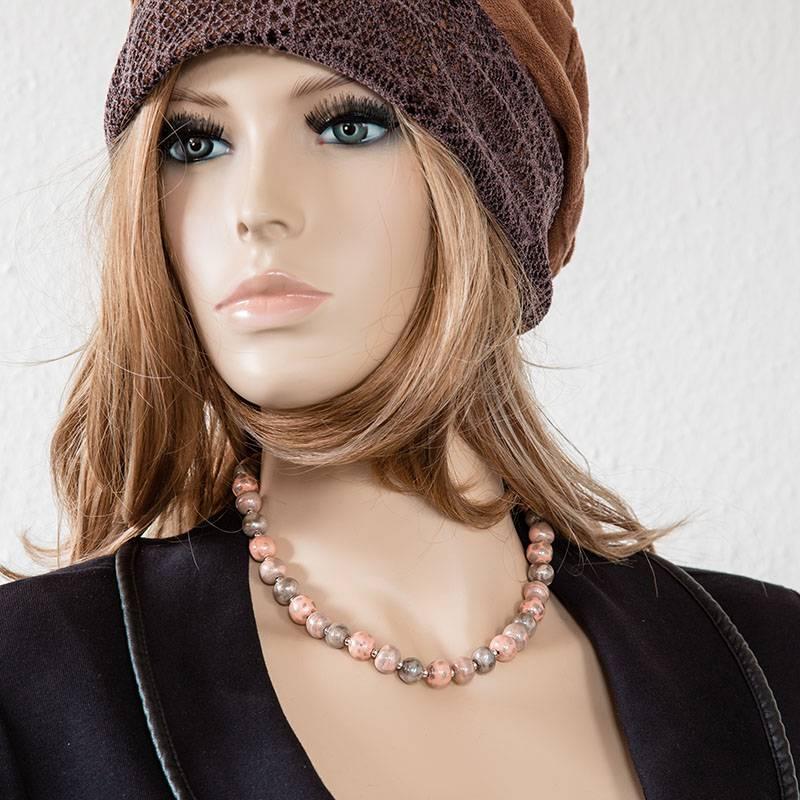 Kazuri Halsketten Zierliche Keramikkette lachsfarben