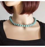 Kazuri Halsketten Zierliche Keramikkette Türkis