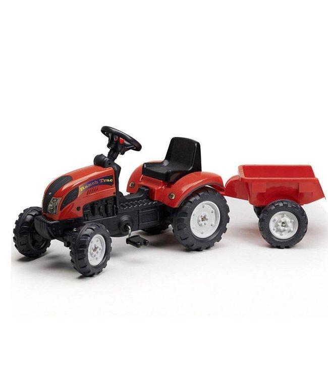 Falk Falk Tractor met Aanhanger - Ranch Trac Rood