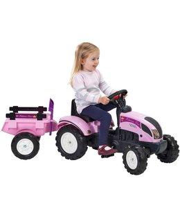 Falk Falk Tractor met Aanhanger Princess Roze