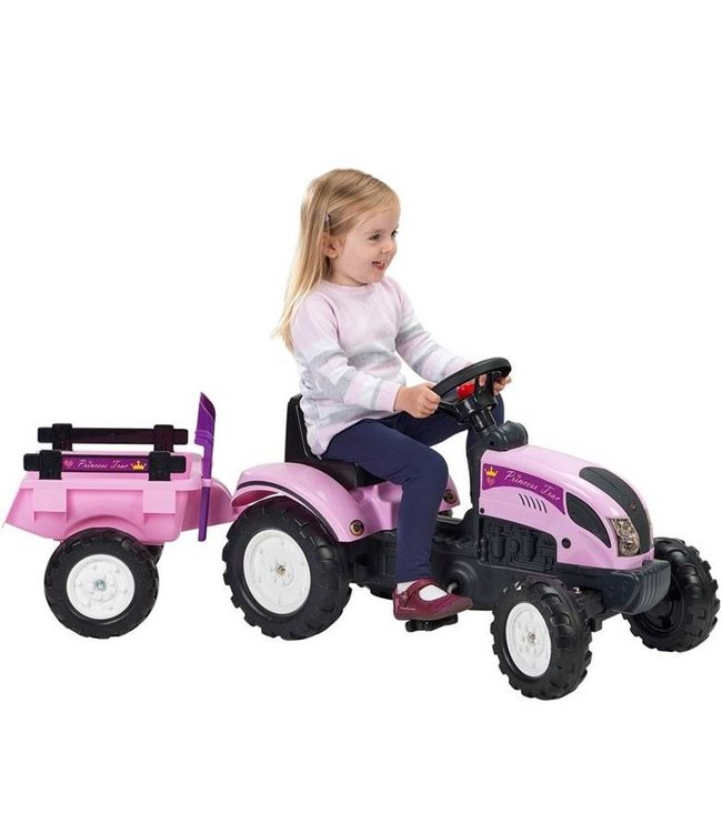 Falk Falk Tractor met Aanhanger - Princess Roze