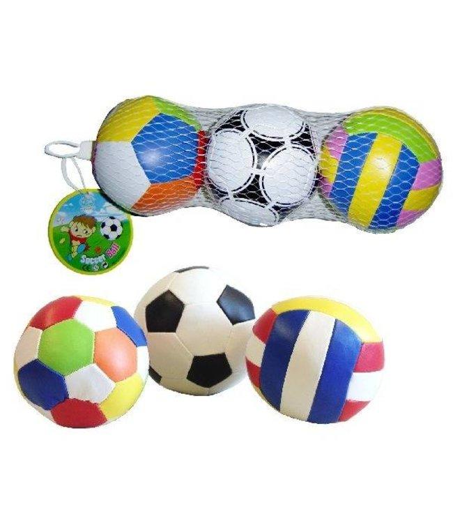 Basic Softbal 10cm 3stuks Assorti