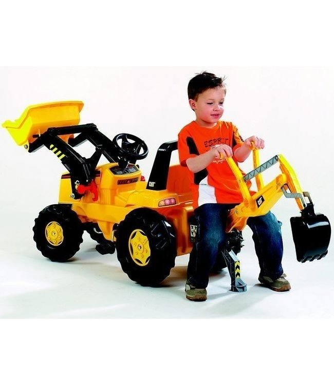 Gele Rolly Toys RollyJunior Tractor met Lader en Graafarm