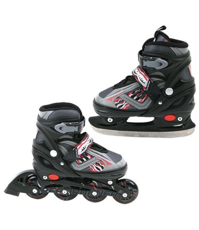 Basic Inline Skate/Schaats 2in1 Abec 7 Zwart Maat 39-42