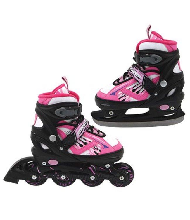 Basic Inline Skate/Schaats 2in1 Abec 7 Roze Maat 31-34