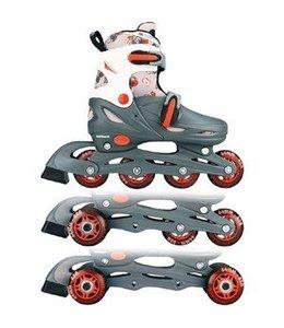 Nijdam Nijdam 52QM 3in1 Inline Skates Quad Grijs/Wit Maat 27-30