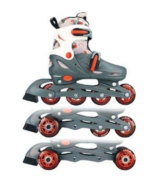 Nijdam Nijdam 52QM 3in1 Inline Skates Quad Grijs/Wit Maat 34-37