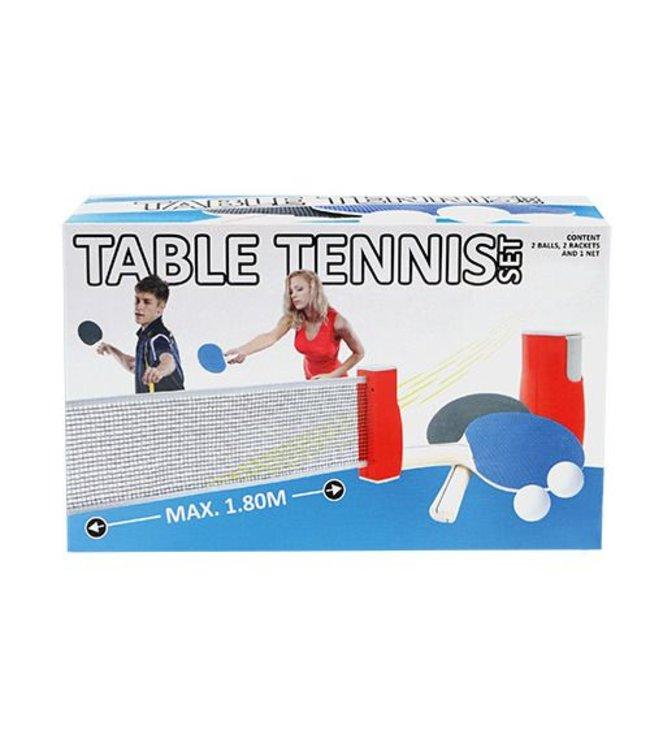 Basic Tafeltennis Set Uitschuifbaar Net + 2 Batjes + 2 Ballen