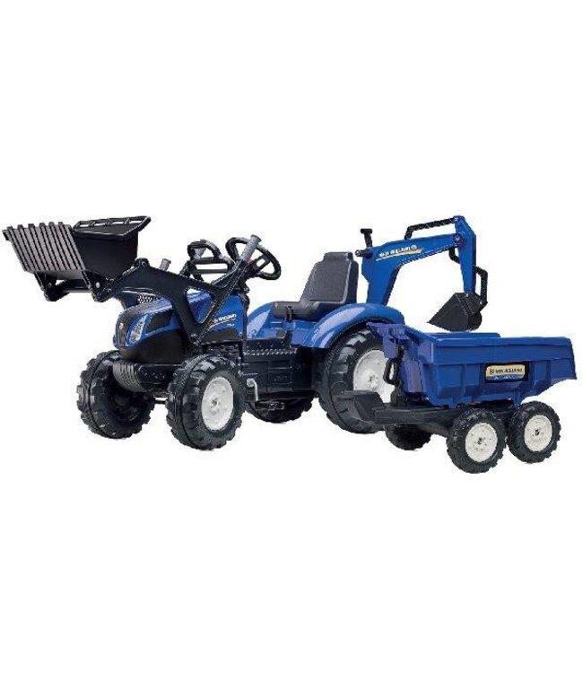 Falk Falk New Holland T8 Tractor + Aanhanger + Lader + Graafarm