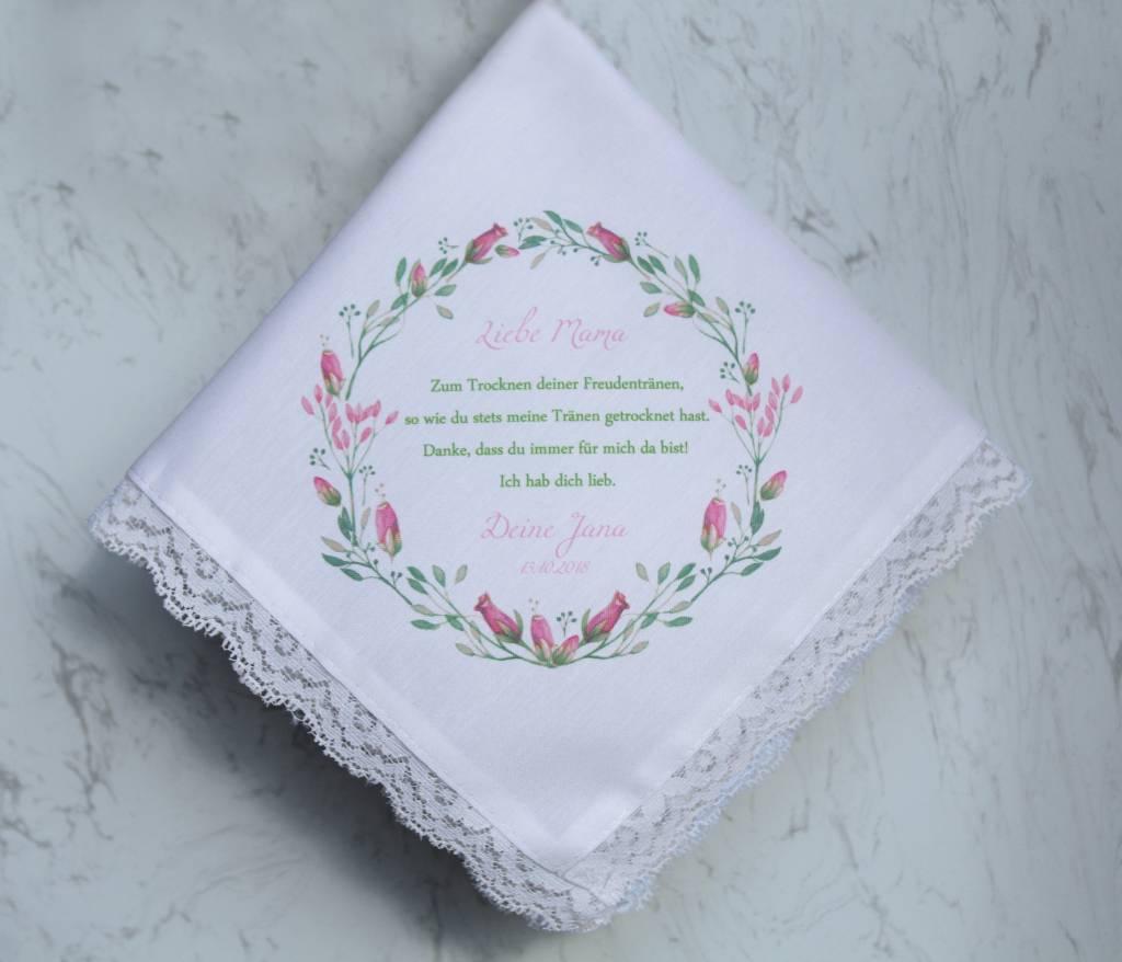 Nadelspitze Taschentuch Vintage Blumenkranz