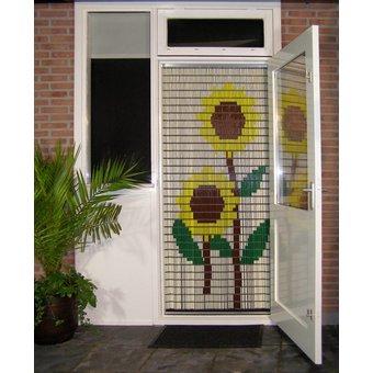 Liso ® 002 Vliegengordijn met Zonnebloemen - kant en klaar 92 x 209 cm