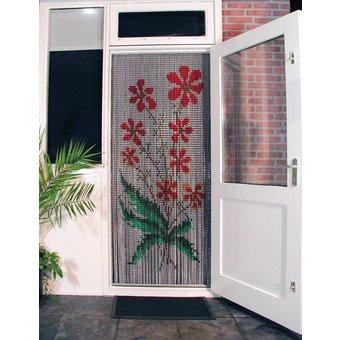 Kriska ® Kettenvorhang | Fliegenvorhang bereit für den Einsatz 92x209 Orange Blumen