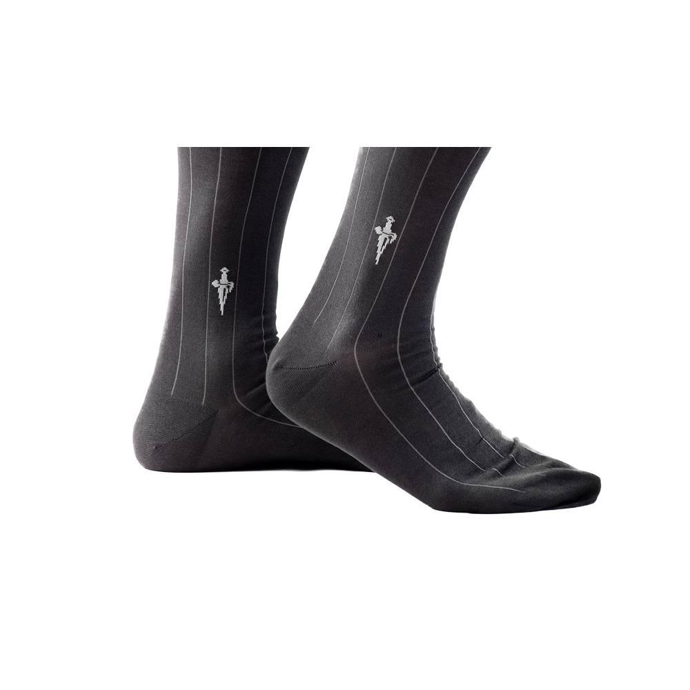 Grijze sokken met Aqua Grijze strepen
