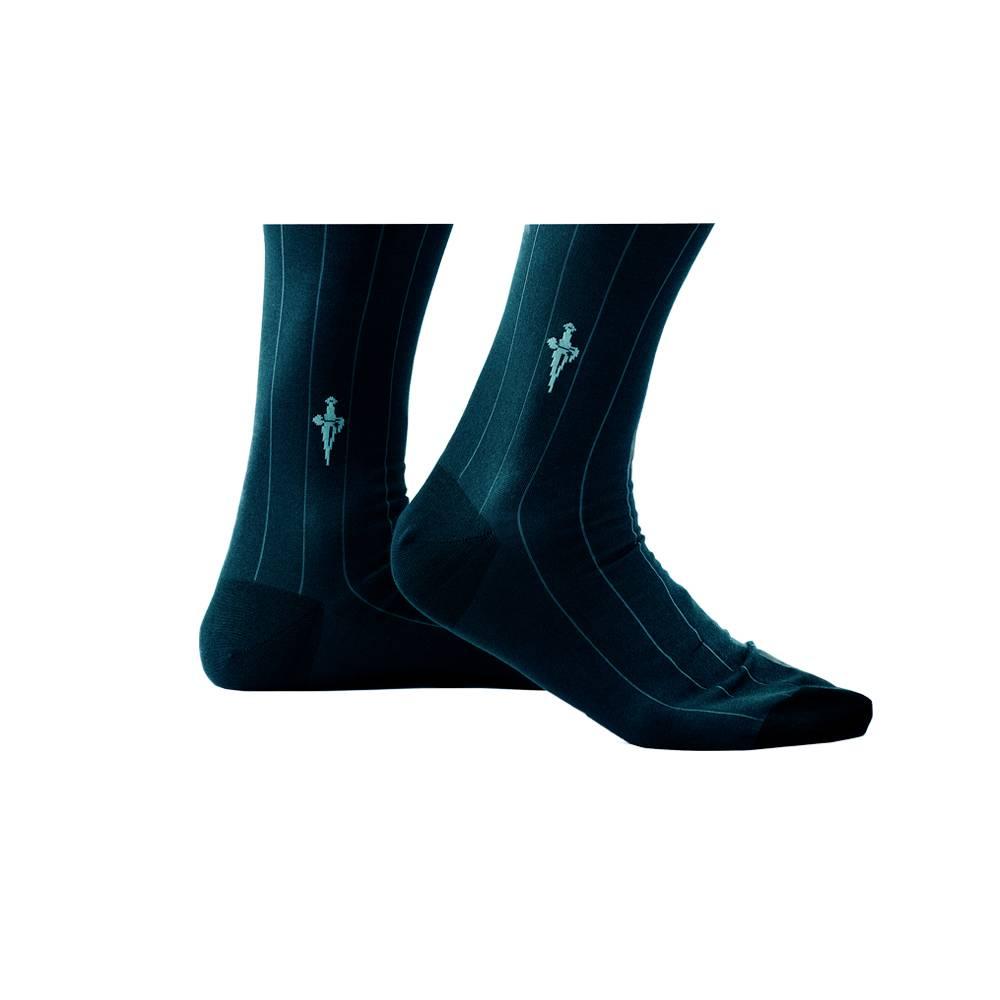 Blauwe sokken met aqua blauwe strepen