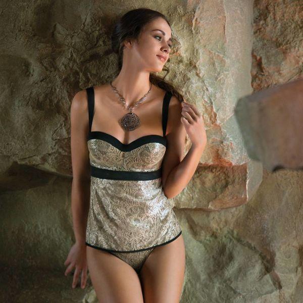 AMBRA SET · (bra top + thong) · Lurex · gold