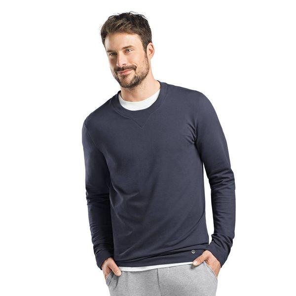 Hanro  Heren·sweatshirt·ronde·nek·lange·mouw·blauw