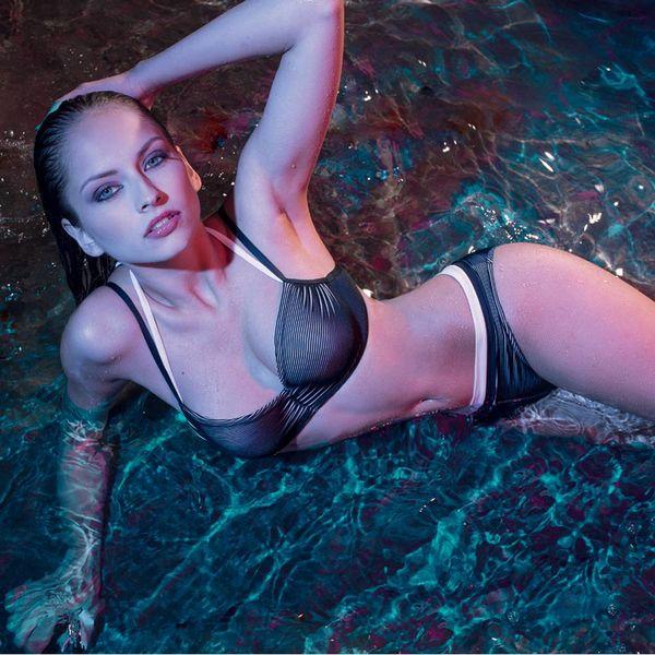 Nicole Olivier Dwars gestreepte Bikini·top·BERENICE·zwart·wit