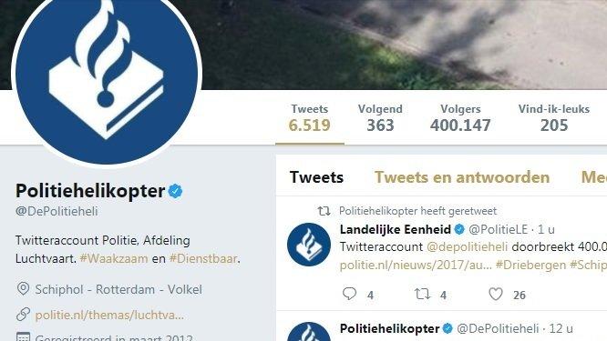 @depolitieheli 400.000 volgers