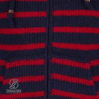 Shakaloha Split Ziphood Navy Red  Strickjacke mit abnehmbarer Kapuze