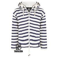 Shakaloha Split Ziphood White Navy Strickjacke mit abnehmbarer Kapuze