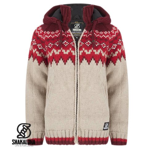 Shakaloha Gin Ziphood Strickjacke in Ecru Rot