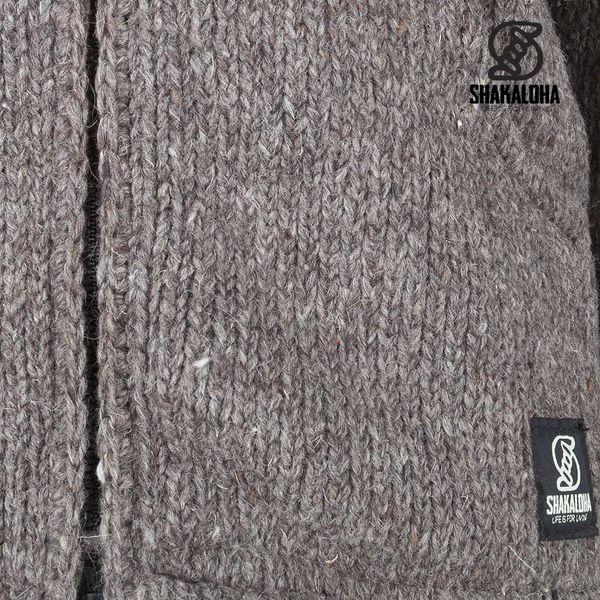 Shakaloha Crush Collar Hellbraun Taupefarbene Strickjacke mit Kragen