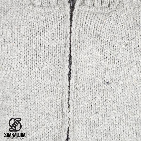 Shakaloha Flash Kraag Grau gefütterte handgestrickte Herrenweste mit hohem Kragen